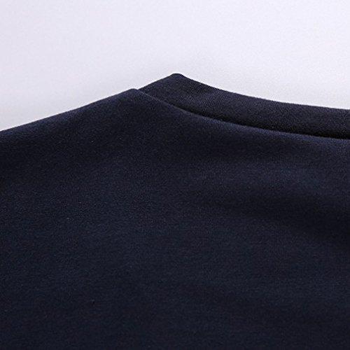 Honghu Herren Kurzarm Casual Monocromo T-Shirt Blau