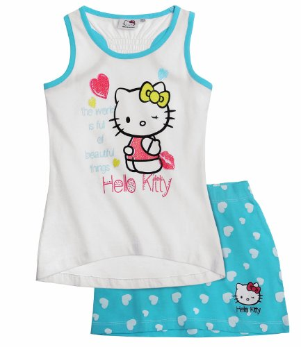 Hello Kitty Mädchen Tank Top mit Rock - blau - (Rock Hello Kitty)