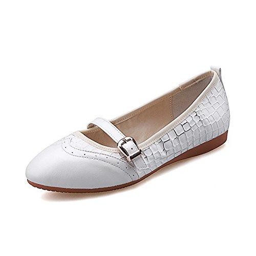 VogueZone009 Femme Tire Pointu Fermeture D'Orteil à Talon Bas Pu Cuir Couleurs Mélangées Chaussures Légeres Blanc