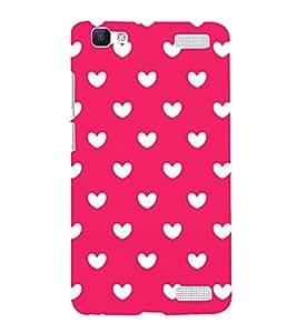 HiFi Designer Phone Back Case Cover Vivo V1 Max ( White Heart In Pink BackGround )