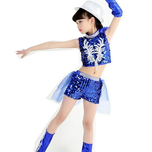 Wgwioo Kinder Sequins Jazz Tanz Kostüme Lose Jungen Mädchen Kinder Bühne Aufführungen Jugend Komfort Studenten Chorparty Cheerleading Gruppen Team Hip Hop , B , (Jazz Kostüme Hop Hip Dance)