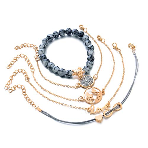 SHIJIAN 5Pcs / Set Schildkröte Perlen Herz Weltkarte Gewebt Armband Frauen und Mädchen Party Schmuck, Gold Farbe