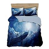 GAOXUE Bettbezug Garnitur Set,3D-Bedruckte Bettwäsche mit weichem und antiallergischem Bettbezug und Kissenbezug, geeignet für EIN Doppelbett @ 228 * 228 (3 Stück) _Bridge