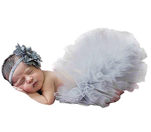 renes Baby Foto Kostüm (Rock + Stirnband) Bekleidungsset Kostüm für Kind Mädchen Baby Rock Tutu Kleidung Prop Outfits Bekleidung Set Für 0-1 Monate - Grau (Neugeborenen Pikachu-kostüm)