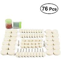 UKCOCO - Juego de 76 almohadillas pulidoras de lana con pasta para madera y metal