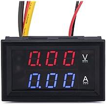 """DROK® 0.28"""" Voltímetro digital y Amperímetro 2en1 DC 0-100V / 10A Coche de Batería Tensión Corriente Tester Pantalla Red Bule LED dual"""