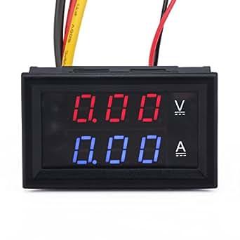 """DROK® 0,28 """"DC Volt Ampèremètre 2in1 Ampèremètre Numérique Voltmètre Testeur Bleu Rouge LED 0-100V/10A Moniteur de Batterie de Voiture"""