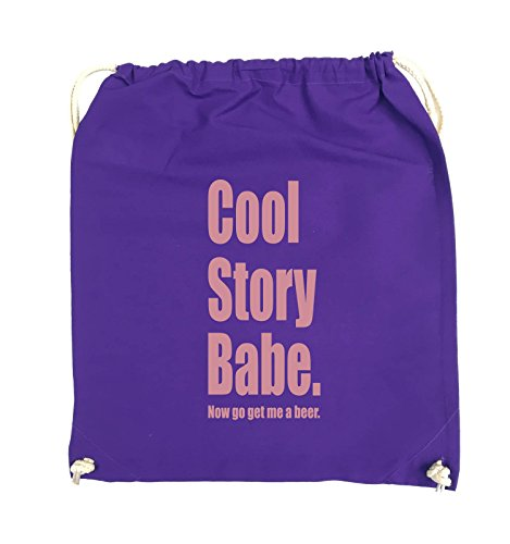 Comedy Bags - Cool Story Babe now get me a beer - Turnbeutel - 37x46cm - Farbe: Schwarz / Pink Lila / Rosa