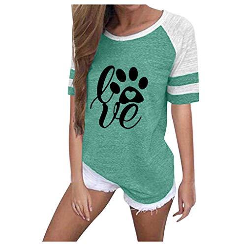 GOKOMO Frauen Plus Size Printing Streifen Rundhals Kurzarm Casual Bluse T-Shirt -
