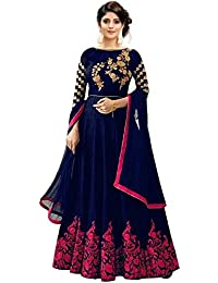 Florely Women s banglori Silk Blue Semi-Stiched Anarkali Gown(Blue and  Green Free Size) 0c713a78b