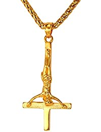 95d459f02bc U7 Collier Pendentif Cruxifix Inversée avec Chaîne Réglable 3mm de Large  Bijoux Religieux en Acier Inoxydable