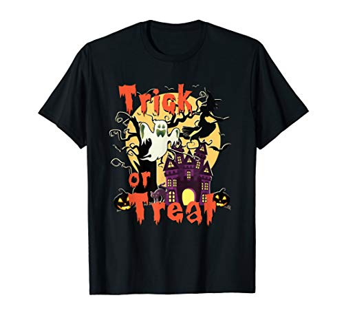 Halloween Trick or Trick Scary Haunted House Witch Ghost T-Shirt
