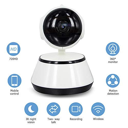 Decdeal WiFi IP Kamera Baby Monitor Überwachungskamera Sicherheitskamera, 720P, IR Nachtsicht, 2 Wege Audio, App IOS/Android/PC