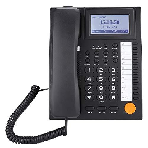 Garsent Schnurgebundenes Telefon, KX-883CID Dual-Port Schnurtelefon mit Direktruf und Freisprech Funktion, Tischtelefon mit LCD-Anzeige(schwarz) - Telefon-ports