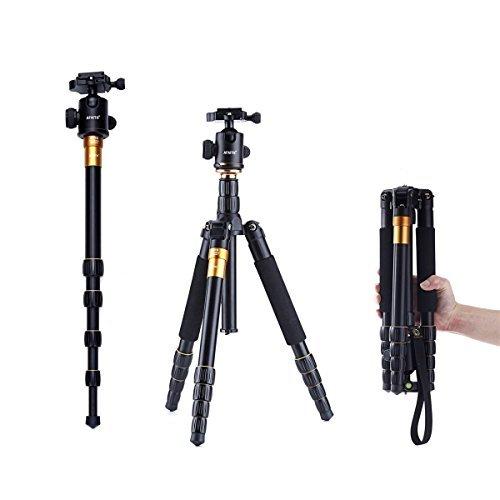 AFAITH® Profeshional Tragbare Magnesium-Aluminiumlegierung Stativ Monopod & Kugelkopf für SLR-Kamera Canon Nikon Pentax