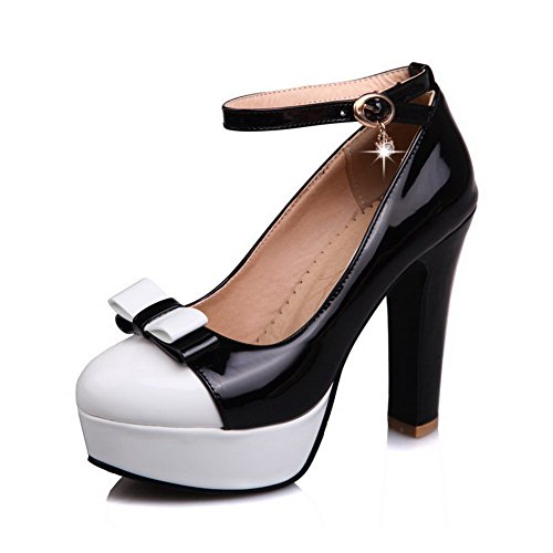 Voguezone009 Femmes Shimmer Boucle Round Toe Talon Haut Couleur Assortie Ballerines Noir