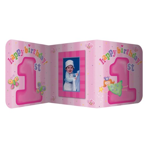 Fun at One - Pink centerpiece with photo insert 12 x 27''