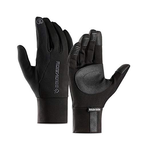 Asolym Handschuhe Herren & Damen Outdoor Sport Winddicht wasserdicht rutschfest Touchscreen Plus samtwarme Fahrradvollfingerhandschuhe,Schwarz,S
