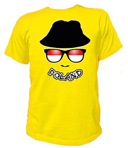 Artdiktat Herren T-Shirt - EM 2016 Flag Glasses - Poland Größe L, gelb