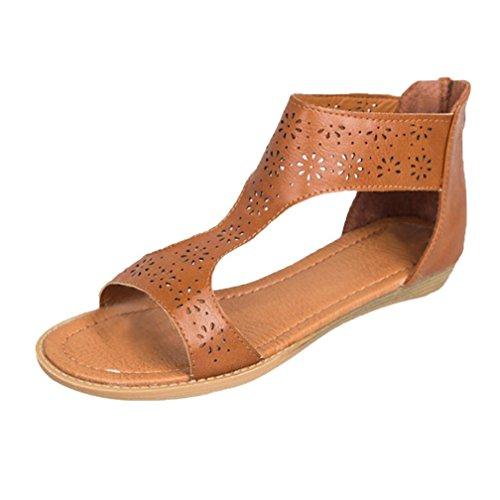 UFACE Frauen Gladiator Sandale zurück Zip Closure Einlegesohle Sandal Closure und Moderate Heels...