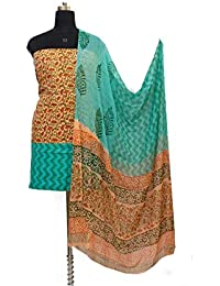Gleamberry Womens Multicolour (Peach & Green) Block Print Cotton Dress Material Set