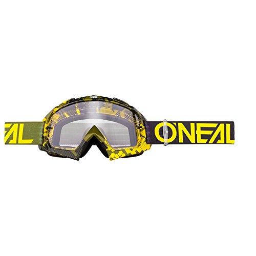 O'Neal B-10 Goggle Pixel Crossbrille Klar Motocross DH Downhill MX Anti-Fog Glas, 6024-30, Farbe Neongelb