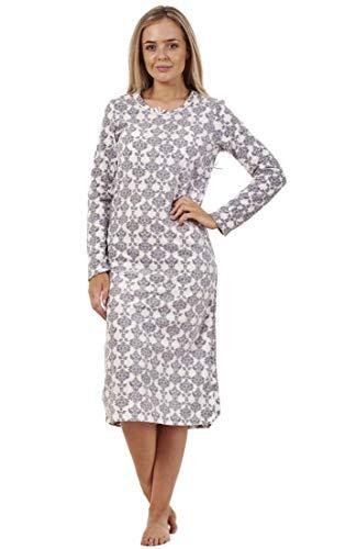 Camicia da notte invernale da donna - a maniche lunghe - in pile - fantasia - grigio - 42-44