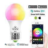 HaoDeng Smart LED Lampe WIFI Beleuchtung, Sonnenuntergang/Sunset Wecker, dimmbar mit Amazon Alexa, Ifttt, Google Home Energiesparlampen, 16 Mio Farbige Leuchtmittel E27 Bulbs