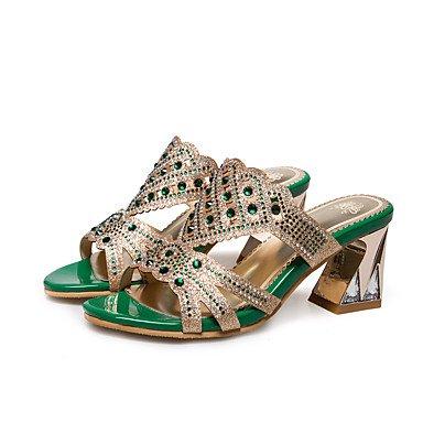 RTRY Donna Pantofole E Flip-Flops Primavera Estate Autunno Abito Sintetico Casual Chunky Tacco Strass Verde Oro US11.5 / EU43 / UK9.5 / CN45