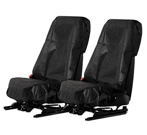 L&P 2 Stück Sitzschoner Werkstattschoner Sitzbezug Schonbezug wasserdicht + pflegeleicht + robust + langlebig aus Stoff in Schwarz (2 Stück Stoff Schwarz)