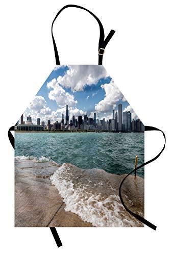 Abakuhaus Illinois Kochschürze, Lake Michigan Chicago-Landschaft in Einem bewölkten Tag Skyline Stadt Modernes Stadtbild, Farbfest Höhenverstellbar Waschbar Klarer Digitaldruck, Mehrfarben