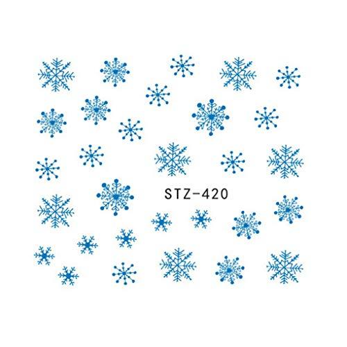 1 Hoja de Pegatinas de Navidad Copos de Nieve Etiqueta engomada del Clavo del Clavo de la Fiesta Tatuajes 3D Transferencia de manicura Regard