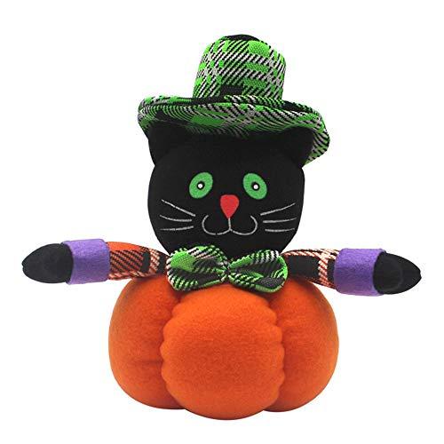 (Bolange Halloween Dekoration Halloween Puppe Halloween Dekoration schöne Tuch Hexe Kürbis Dekoration - schwarze Katze)