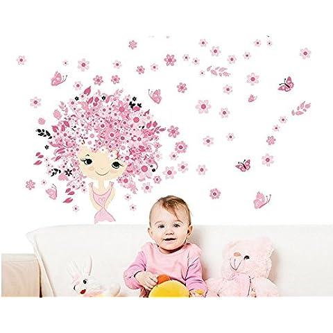 Skyllc® engomada impermeable princesa rosada de la mariposa del vuelo de la cáscara y del palillo de la pared Tatuajes de pared de PVC Arte etiquetas caseras de la