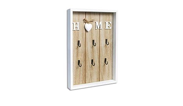 Pareti In Legno Shabby : Portachiavi da parete in legno shabby chic con decorazione cuore