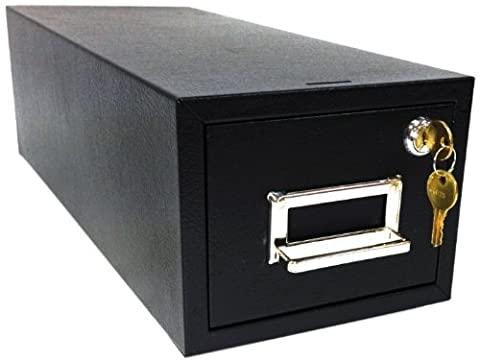Buddy Products Single Drawer 4 x 6 Card Cabinet File with Lock, 6.13 x 16 x 7.5 Inches, Black (1446-4)