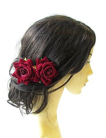 2x rouge foncé Fleur Rose Bordeaux épingles à cheveux vintage