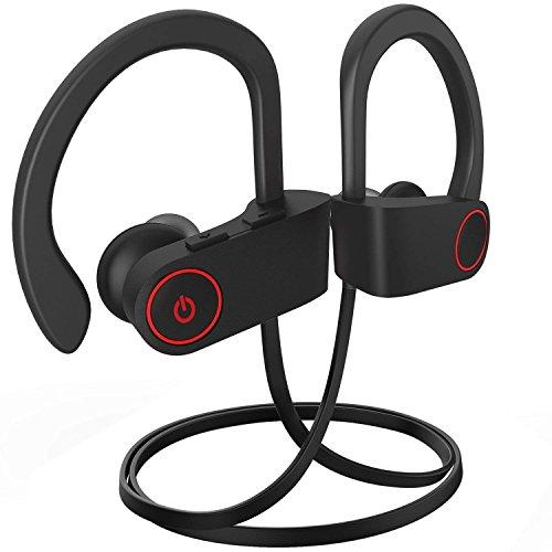 Bluetooth Kopfhörer, Bluetooth in-Ear Best Wireless Sport Kopfhörer w/Mikrofon IPX7 Wasserdicht Stereo Schweiß-in-Ear für Gym Running Workout 8 Stunde Akku Noise Cancelling Kopfhörer (Schwarz)