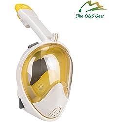 Elite O&S - Masque intégral de snorkeling Easybreath avec vision panoramique à 180° - Anti-buée et anti-fuite - Pour adultes et enfants S/M jaune
