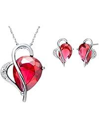 Forfamilyltd Plata de ley 925 Corazón de Circonita Zirconia cúbico Rojo rubí pendientes y colgante conjunto Juegos de joyas para Mujer