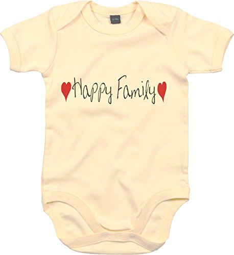 Happy Baby-strampelanzug (WarmherzIch Baby Body Happy Family Strampler liebevoll bedruckt Familie Bruder Schwester Natur, 12-18)