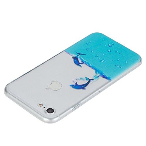 JAWSEU Coque pour iPhone 7,iPhone 7 Coque en Silicone Ultra Mince,iPhone 7 Soft Transparent Protective Case Cover Flexible Souple Housse Etui de Protection Coque TPU en Marbre Luxe Classique Disign Mo dauphin