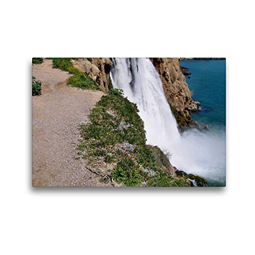 Calvendo Premium Textil-Leinwand 45 cm x 30 cm quer, Wasserfall im Ortsteil Lala in Side | Wandbild, Bild auf Keilrahmen, Fertigbild auf echter Leinwand, Leinwanddruck Natur Natur