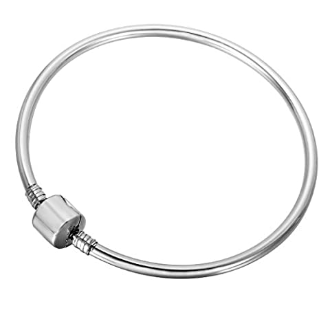 HOUSWEETY Bracelet Menotte Chaine de Main avec Fermoir Mobile en Acier Inoxydable pour Femme