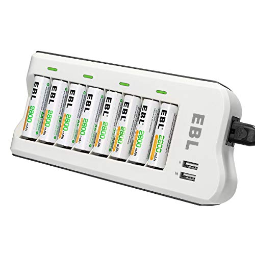 EBL Akku ladegerät inkl. 8X AA 2800mAh mit 2 USB Prot Akkus ladegerät für AA, AAA, NI-MH Akku Universal batterien Ladegerät 8-Fach Multi Batterie Ladegerät