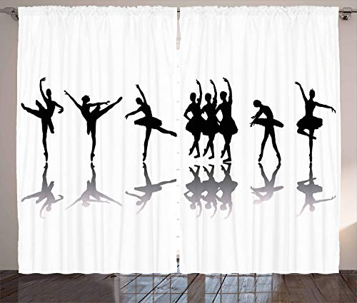 ABAKUHAUS Ballett Rustikaler Gardine, Ballerinas auf der Bühne Tanz, Schlafzimmer Kräuselband Vorhang mit Schlaufen und Haken, 280 x 175 cm, Schwarz Pale Grau Weiß -