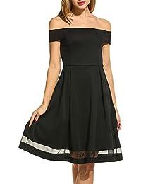 Parabler Elegantes Abendkleid Schulterfreies A Linie Kleid Saum mit Mesh  Skaterkleid Knielang Partykleid Cocktailkleid Hochzeitkleid Jerseykleid f524671e60
