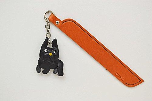 Französische Bulldogge schwarz Leder Hund Charm Lesezeichen Vanca handgefertigt in Japan... -