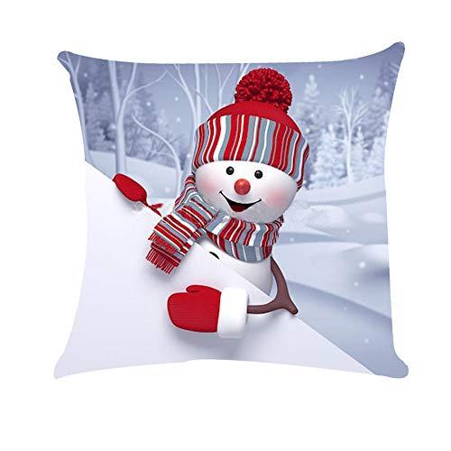 (Mitlfuny Weihnachten DIY Home Decor 2019,Weihnachtsschnee Happy Santa Claus Super weiche Kissenbezug Kissenbezug)