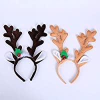 Amaone 2 Pack Christmas Headband, Reindeer Antler Bell Hair Hoop Head Band Clasp Long Cute Headwear Costume Accessories Decoration For Kids And Adults Xmas Holiday Party Decor